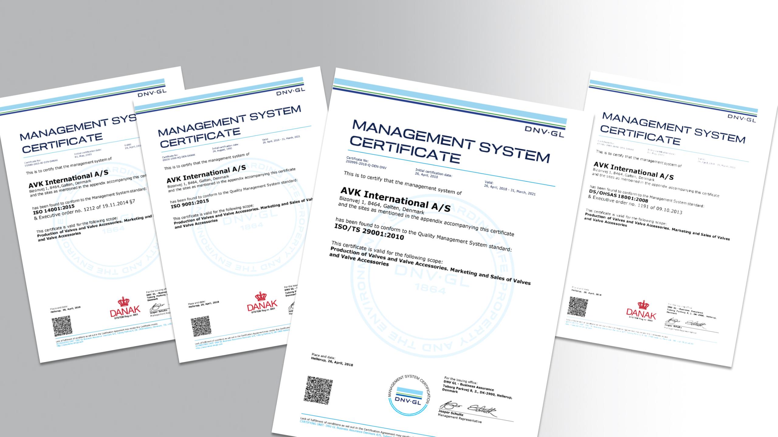 Certificat  ISO TS 29001 pentru AVK